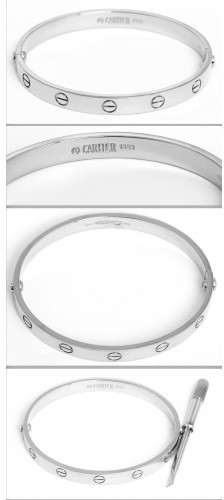 Cartier excellent (EX 18K White Gold Love Bracelet Size 17