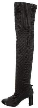 Chanel Over-The-Knee Cap-Toe Boots Black Over-The-Knee Cap-Toe Boots