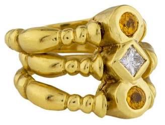 Ring 18K Yellow Sapphire & Diamond Flexible Band