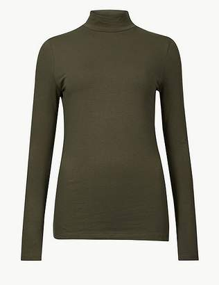 Marks and Spencer Cotton Rich Funnel Neck Long Sleeve T-Shirt