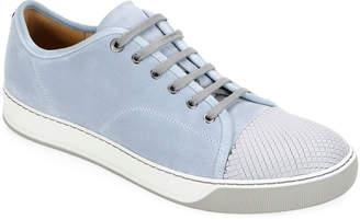 Lanvin Men's Embossed Cap-Top Suede Sneakers