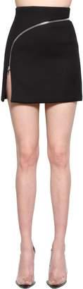 Alexander Wang Cotton Blend Mini Skirt W/ Curved Zip