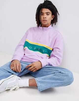 Obey 1/4 Zip Palisade Sweatshirt With Panel Logo In Pink
