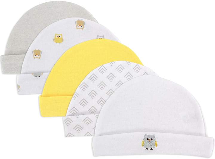 Luvable Friends Size 0-6M 5-Pack Owl Caps in Yellow