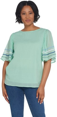 Du Jour Flutter Sleeve Crinkle Gauze Top with Rickrack Detail