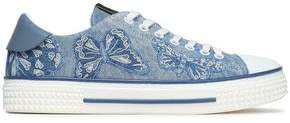 Valentino Leather-trimmed Embroidered Denim Sneakers
