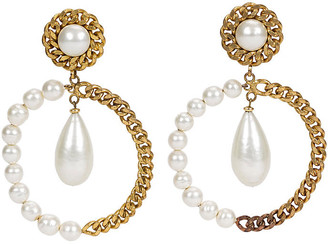 One Kings Lane Vintage Chanel Oversize Pearl Hoop Drop Earrings - Vintage Lux