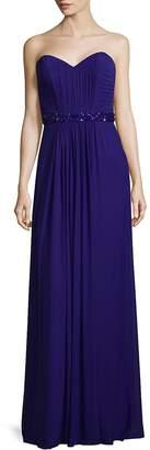 La Femme Women's Elegant Gathered Floor-Length Gown