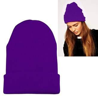 Beanie Hat for Women by Zodaca Knitted Knit Winter Warm Soft Cap High Quality Unisex Skully Solid Plain Color - Purple