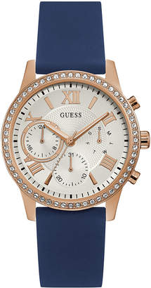 GUESS Women's Blue Silicone Strap Watch 40mm