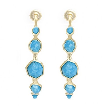 Ippolita excellent (EX 18K Yellow Gold Modern Rock Candy 5 Stone #3 Hoop Earrings in Medium Turquoise