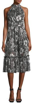 MICHAEL Michael Kors Metallic-Knit Tiered Midi Dress