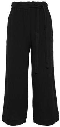Raquel Allegra Crinkled Cotton-Gauze Wide-Leg Pants