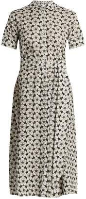 Lisa Marie Fernandez Floral-embroidered short-sleeved cotton dress