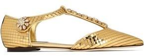 Dolce & Gabbana Crystal-Embellished Metallic Leather Point-Toe Flats