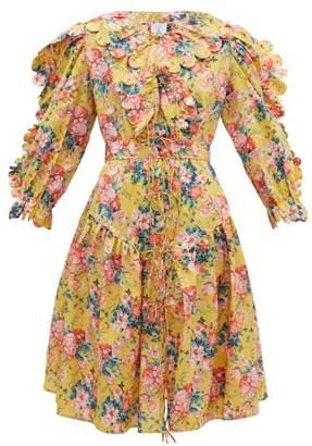 Horror Vacui Custia Scalloped Floral Print Cotton Dress - Womens - Yellow Multi