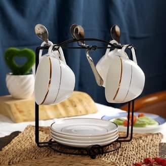 KHSKX Europen-style coffee mug set mug simple cermic te set, bone Chin coffee cup nd sucer spoon rck
