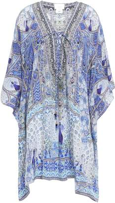 Camilla Embellished Lace-up Silk Crepe De Chine Kaftan