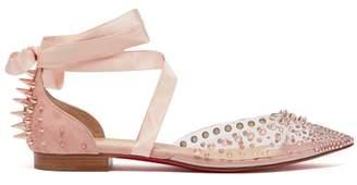 Christian Louboutin - Mechante Reine Crystal And Stud Embellished Flats - Womens - Light Pink