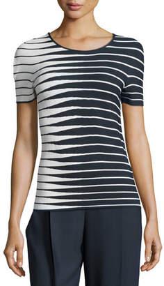 Armani Collezioni Alternating-Stripe Short-Sleeve Sweater, Navy/Multi
