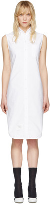 Thom Browne White Sleeveless Shirt Dress $590 thestylecure.com