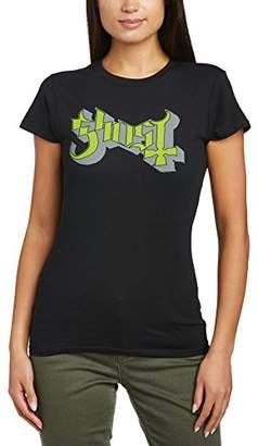 Keyline Rock Off Ghost Women's Green Grey Logo Slim Fit Short Sleeve T-Shirt,(Manufacturer Size:X-Large)