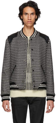 Saint Laurent Black and White Wool Bomber Jacket