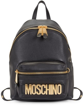 Moschino Logo Plate Pebbled Leather Backpack