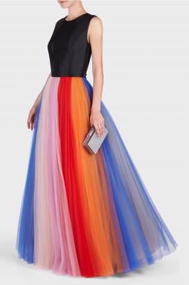 Carolina Herrera Sleeveless Rainbow Tulle Gown