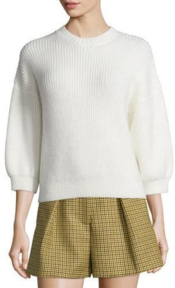 3.1 Phillip Lim Ribbed 3/4-Sleeve Crewneck Pullover Sweater, Antique White $350 thestylecure.com