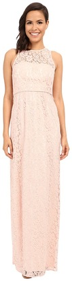 Donna Morgan - Harper Illusion Neck Lace Long Gown Women's Dress $240 thestylecure.com