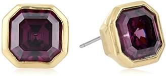 Nicole Miller 10 mm Signature Asscher Bezel Gold/Amethyst Stud Earrings