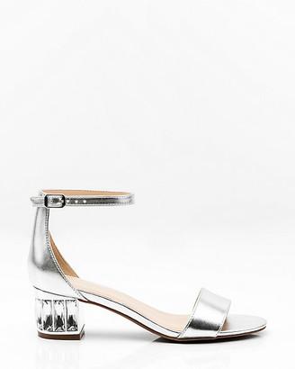 Le Château Metallic Embellished Block Heel Sandal