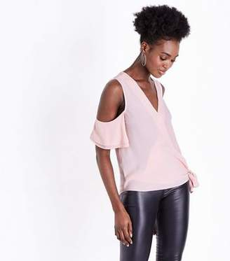 New Look Pink Wrap Front Cold Shoulder Blouse