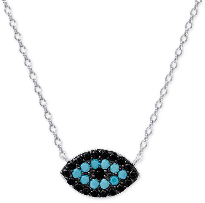 Macy's Manufactured Turquoise and Black Crystal Evil-Eye Pendant Necklace in Sterling Silver