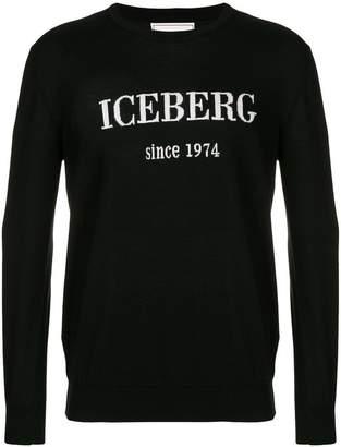 Iceberg logo print crew neck jumper