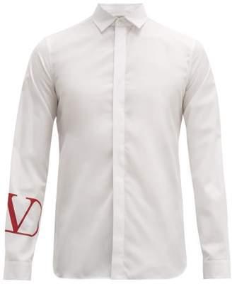 Valentino Go Logo Cotton Poplin Shirt - Mens - White