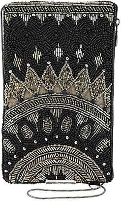 Mary Frances Kismet Black Beaded-Embroidered Crossbody Phone Bag