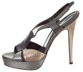 1d8f61a85dc7 Metallic Pewter Platform Sandals - ShopStyle