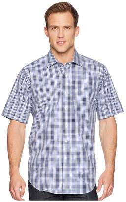 Magna Ready Short Sleeve Magnetically-Infused Plaid Dress Shirt- Spread Collar Men's Clothing