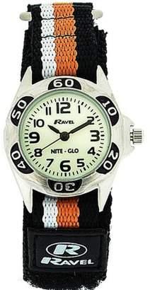 Ravel Nite-Glo Quartz Luminous Dial Black Orange Velcro Boys Watch R1704.8