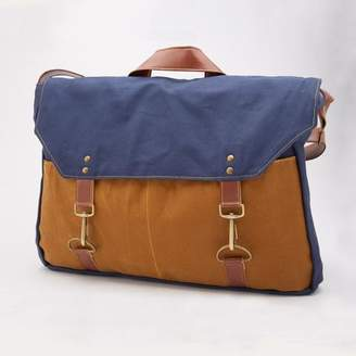 Blade + Blue Navy & Whiskey Canvas Messenger Bag