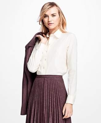 Scalloped Cotton Dobby Dress Shirt $98 thestylecure.com