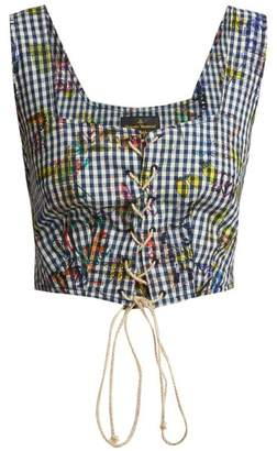 Vivienne Westwood Floral-print gingham cropped top