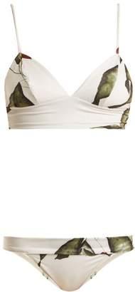 Haight - Leaf Print Triangle Bikini - Womens - White Print