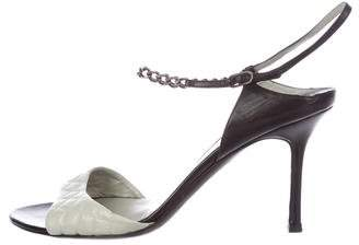 Chanel Quilted Chain-Embellished Sandals
