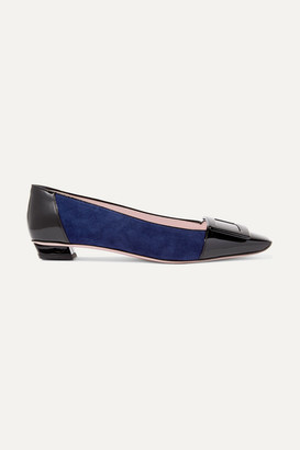 Roger Vivier Belle Vivier Patent-leather And Suede Ballet Flats - Navy