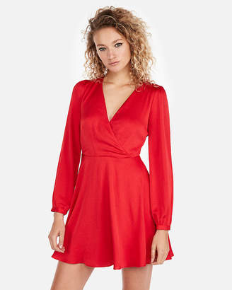 Express Petite Long Sleeve Elastic Waist Fit And Flare Dress