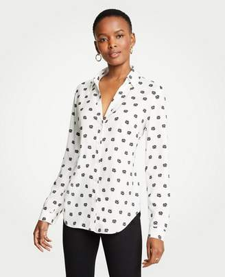 Ann Taylor Petite Dot Floral Essential Button Down Blouse
