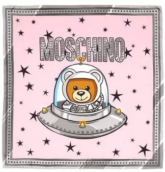 Moschino Spaceship Bear Silk Square Scarf